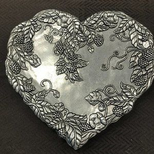 Pewter heart shaped dish